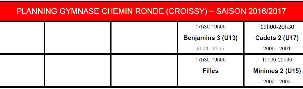 Saison 2016 2017 Chemin Ronde